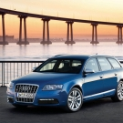 Luxurious car Audi S6 poster with lovely sunset view